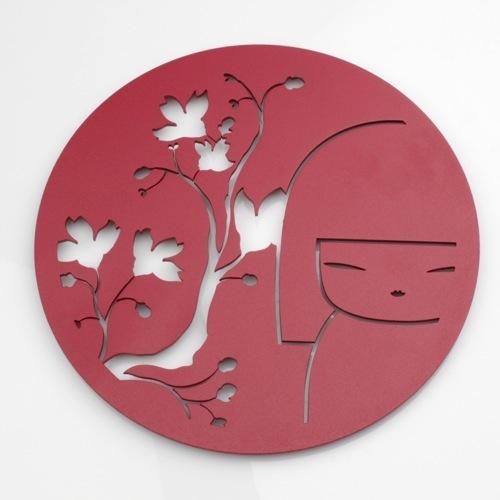 Kokeshi kimmidoll accessoires dessous de plat rond en - Dessous de plat en metal ...