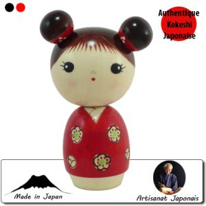 Kokeshi Jeunes filles  Mujaki Akai - Innocence Rouge (13cm)