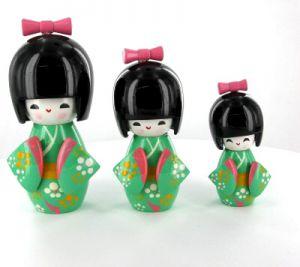 Kokeshi Chinoise  Lot De 3 Kokeshi Chinoises Vertes (14, 12 Et 9cm)