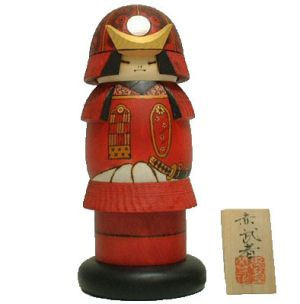 Kokeshi Guerriers  Warrior Red (21cm)