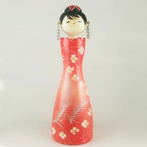 Kokeshi Jeunes filles (+ de 14 cm)  Hana Dance Rouge (18cm)