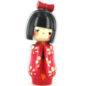 Kokeshi Jeunes filles (+ de 14 cm)  Otomesode Red (15cm)