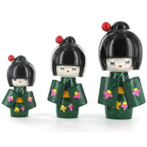 Kokeshi Chinoise  Lot De 3 Kokeshi Chinoises Vertes Foncées Modèle N°2 (14, 12 Et 9cm)