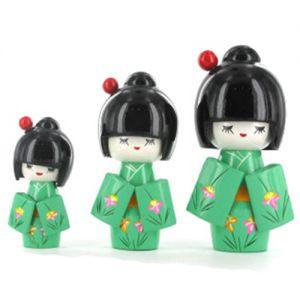Kokeshi Chinoise  Lot De 3 Kokeshi Chinoises Vertes Modèle N°2 (14, 12 Et 9cm)