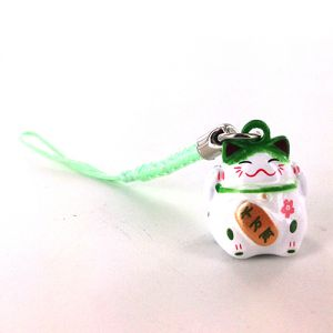 Kokeshi Straps Strap Maneki-Neko Vert et Blanc
