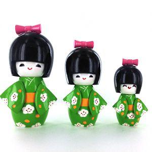 Kokeshi Chinoise Lot De 3 Kokeshi Chinoises Vertes - C - (14, 12 Et 9cm)