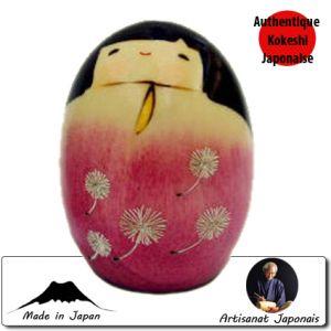Kokeshi Ovales  Tanpopo S - Rose (7cm)
